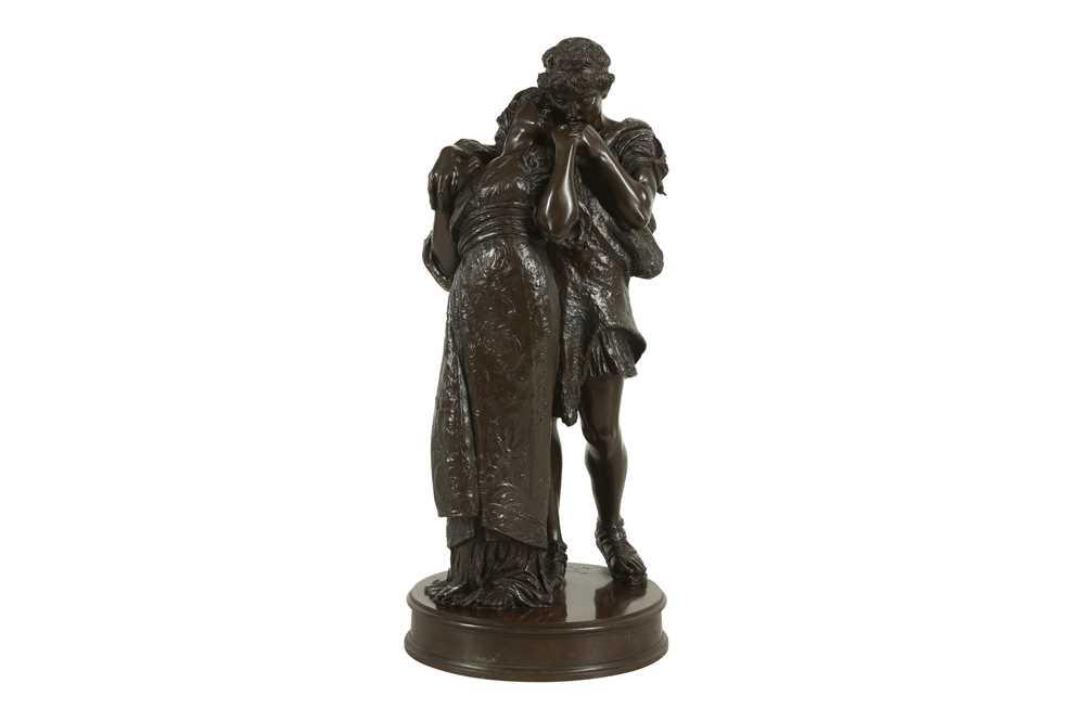 Lot 52 - GIOVANNI BATTISTA AMENDOLA (ITALIAN, 1848-1887): A BRONZE FIGURAL GROUP OF TWO LOVERS 'WEDDED'