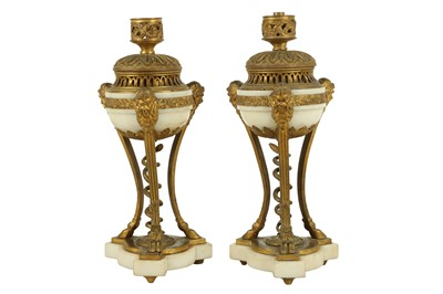 Lot 111 - A PAIR OF LATE 19TH CENTURY FRENCH GILT BRONZE AND WHITE MARBLE LAMP BASES IN THE MANNER OF PIERRE GOUTHIERE
