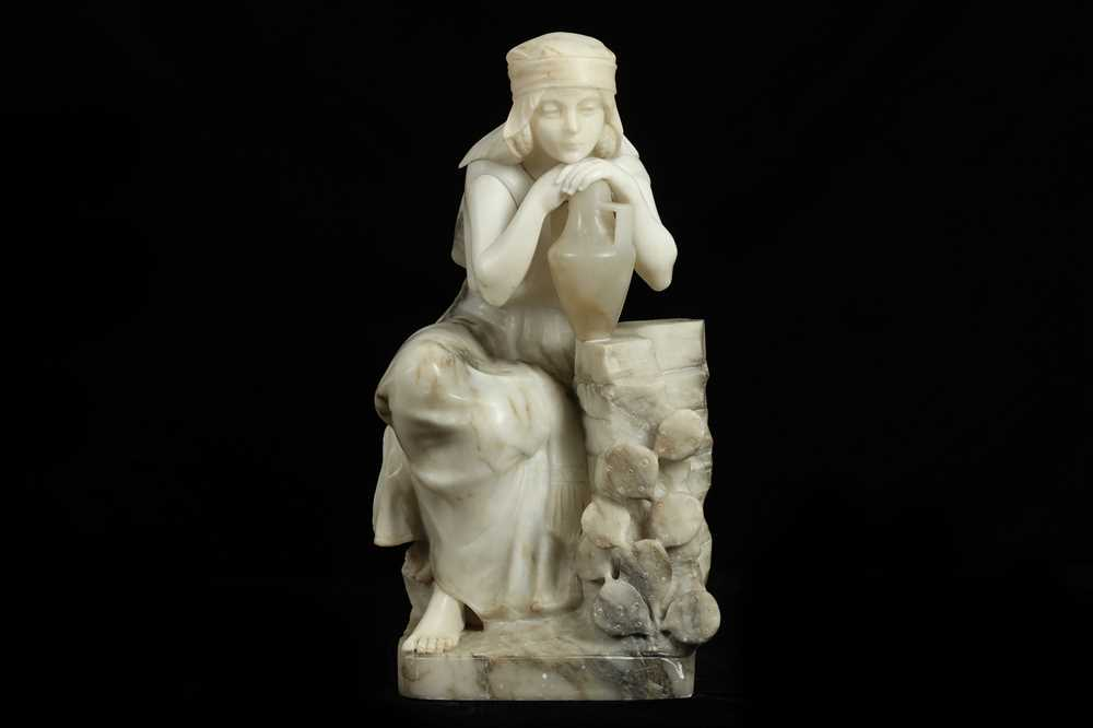Lot 13 - GUGLIELMO PUGI (ITALIAN, 1850-1915): AN ORIENTALIST ALABASTER FIGURE OF A MAIDEN AT A WELL