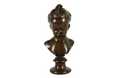 Lot 130 - AFTER JACQUES FRANÇOIS JOSEPH SALY (FRENCH, 1717-1776): A 19TH CENTURY BRONZE BUST OF A GIRL