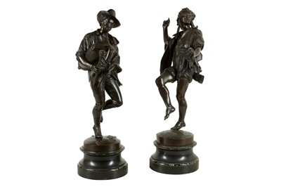 Lot 49 - CELESTIN-ANATOLE CALMELS (FRENCH, 1822-1906) : A PAIR OF BRONZE FIGURES OF MUSICIANS DANCING