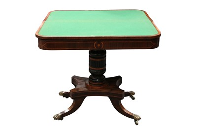 Lot 5 - A REGENCY ROSEWOOD VENEERED CROSS BANDED FOLD OVER CARD TABLE