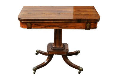 Lot 1 - A PAIR OF REGENCY PERIOD ROSEWOOD VENEERED AND BRASS INLAID FOLD OVER CARD TABLES