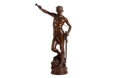 Lot 126 - JEAN ANTONIN MERCIÉ, FRENCH (1845-1916): A BRONZE FIGURE OF 'DAVID VAINQUEUR' CAST BY BARBEDIENNE
