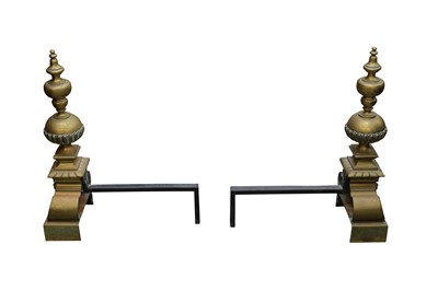 Lot 29 - A PAIR OF POLISHED BRASS ANDIRONS IN THE LATE 17TH CENTURY STYLE
