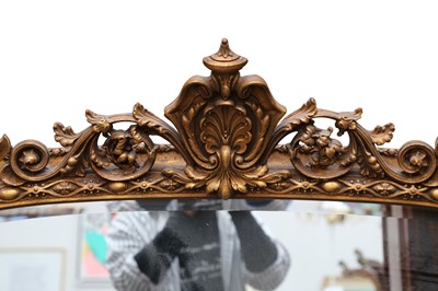 Lot 24 - A VICTORIAN STYLE OVER MANTLE MIRROR, 20TH CENTURY