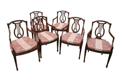 Lot 13 - A SET OF SIX NEOCLASSICAL STYLE MAHOGANY LYRE BACK ARMCHAIRS, LATE 19TH/EARLY 20TH CENTURY