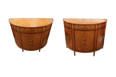 Lot 4 - A PAIR OF NEOCLASSICAL TASTE SATINWOOD, MARQUETRY INLAID AND PAINTED DEMI LUNE COMMODES