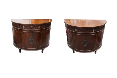 Lot 3 - A PAIR OF REPRODUCTION D-SHAPED MAHOGANY COMMODES, IN THE ADAM TASTE