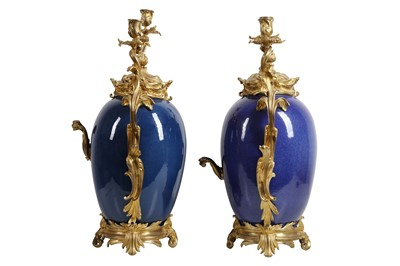 Lot 94 - A FINE PAIR OF SECOND HALF 19TH CENTURY FRENCH GILT BRONZE MOUNTED CHINESE PORCELAIN CANDELABRA