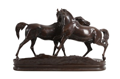 Lot 55 - AFTER PIERRE JULES MENE (FRENCH 1810-1879): A LATE 19TH CENTURY BRONZE OF 'LACCOLADE' BY SUSSE FRES