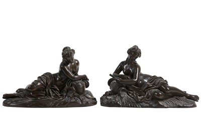 Lot 123 - AFTER JEAN GOUJON (1510-1566): A FINE PAIR OF MID 19TH CENTURY BRONZE FIGURES OF RIVER NYMPHS