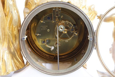 Lot 90 - A FINE 19TH CENTURY FRENCH NAPOLEON III GILT BRONZE AND MARBLE CLOCK SIGNED PLANCHON