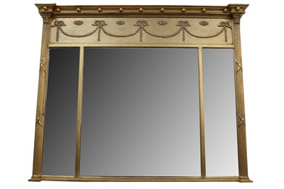 Lot 14 - A GILT FRAMED RECTANGULAR OVER MANTLE MIRROR, IN THE REGENCY STYLE, LATE 20TH CENTURY