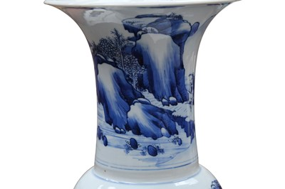 Lot 15 - A CHINESE BLUE AND WHITE LANDSCAPE YEN-YEN VASE, POSSIBLY KANGXI PERIOD