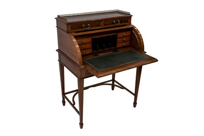Lot 16 - A LATE VICTORIAN SHERATON REVIVAL CROSS-BANDED AND INLAID CYLINDER BUREAU