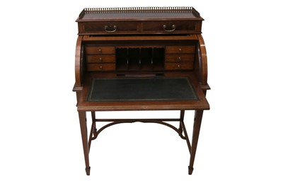 Lot 12 - A LATE VICTORIAN SHERATON REVIVAL CROSS-BANDED AND INLAID CYLINDER BUREAU