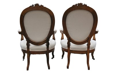 Lot 17 - A PAIR OF MID-VICTORIAN ROSEWOOD SALON CHAIRS, CIRCA 1860