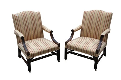 Lot 18 - A PAIR OF MAHOGANY GAINSBOROUGH ARMCHAIRS, IN THE CHINESE CHIPPENDALE STYLE