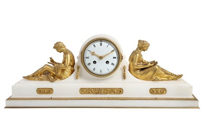 Lot 89 - A FINE MID 19TH CENTURY FRENCH GILT BRONZE AND MARBLE FIGURAL MANTEL CLOCK CIRCA 1860