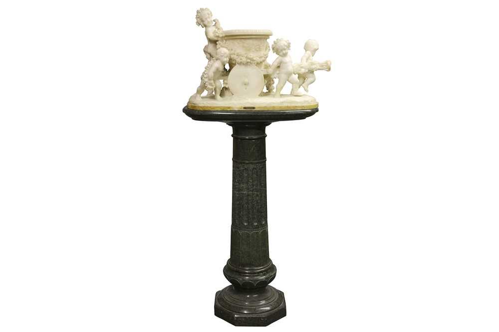 Lot 16 - ARISTIDE PETRILLI (ITALIAN, 1868-1930): A LARGE ALABASTER GROUP OF PUTTI ON A SERPENTINE COLUMN