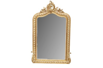 Lot 49 - A FRENCH GILTWOOD AND GESSO OVERMANTEL MIRROR, LATE 19TH CENTURY