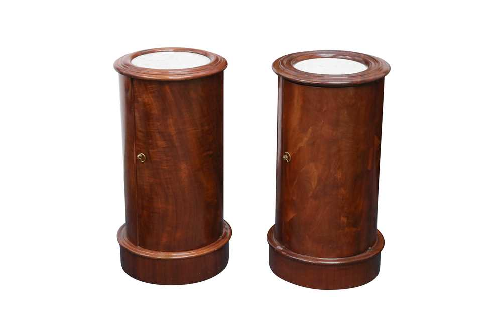 Lot 23 - A PAIR OF VICTORIAN CYLINDRICAL MAHOGANY BEDSIDE CUPBOARDS, CIRCA 1850