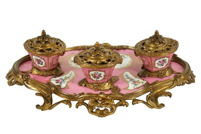 Lot 77 - A MID 19TH CENTURY FRENCH GILT BRONZE AND SEVRES STYLE PORCELAIN MOUNTED INKSTAND