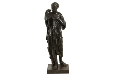 Lot 133 - A LATE 19TH CENTURY FRENCH BRONZED SPELTER FIGURE OF DIANA DE GABIES