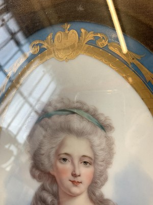 Lot 70 - A PAIR OF 19TH CENTURY FRENCH SEVRES STYLE PORCELAIN PORTRAITS OF NOBLE WOMEN