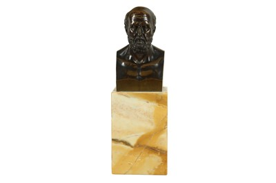 Lot 135 - A MID 19TH CENTURY GRAND TOUR BRONZE BUST OF ARISTOTLE