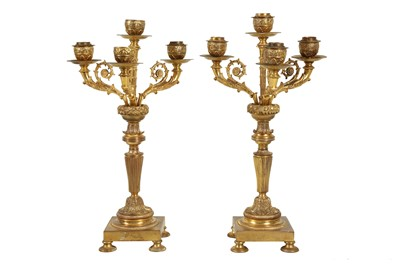 Lot 113 - A PAIR OF LATE 19TH CENTURY FRENCH GILT BRONZE CANDELABRA