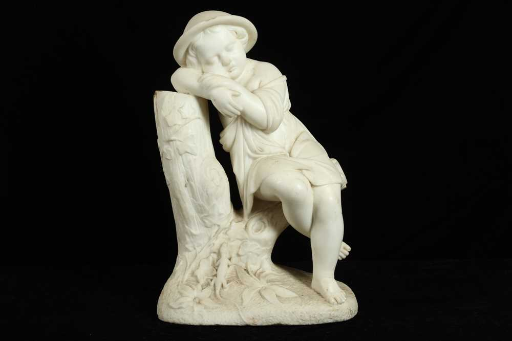 Lot 10 - A LATE 19TH CENTURY ITALIAN MARBLE FIGURE OF A SLEEPING BOY