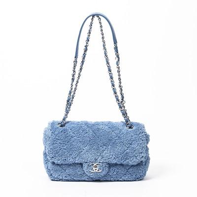 Lot 76 - Chanel Blue Medium Single Flap Bag