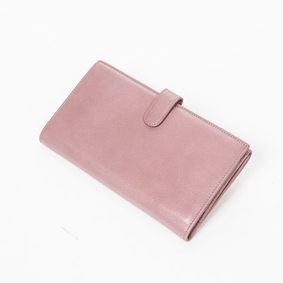 Lot 40 - Chanel Pink Camelia Trifold Flap Wallet