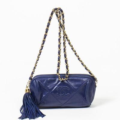 Lot 78 - Chanel Blue Mini Barrel Bag