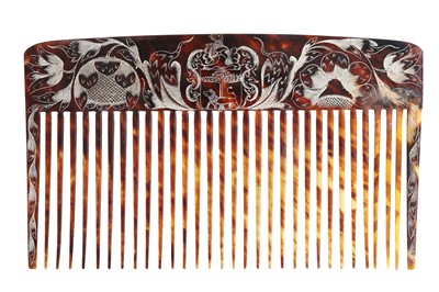 Lot 37 - TW0 RARE AND IMPORTANT LATE 17TH CENTURY JAMAICAN COLONIAL ENGRAVED TORTOISESHELL WIG COMBS