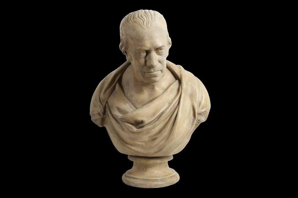 Lot 25 - AFTER SIR FRANCIS LEGGATT CHANTREY (BRITISH 1781-1842): A 19TH CENTURTY PLASTER BUST DEPICTING JAMES WATT