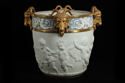Lot 85 - A LARGE LATE 19TH CENTURY SEVRES STYLE BISCUIT PORCELAIN JARDINIERE