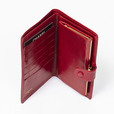 Lot 20 - Chanel Red Logo Long Bifold Wallet