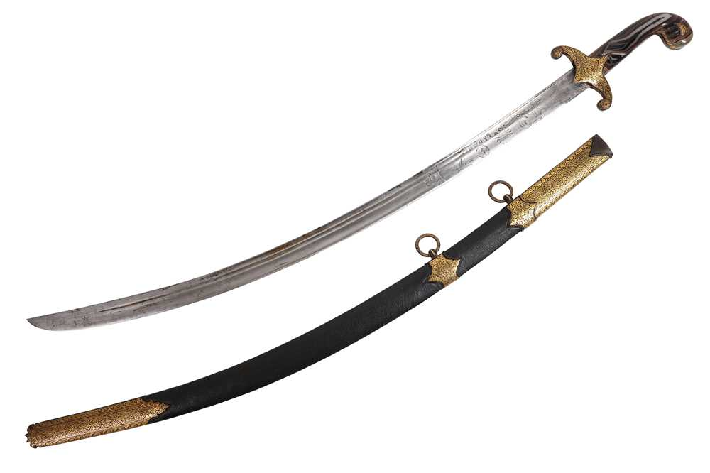 Lot 35 - AN OTTOMAN (TURKEY) AGATE HILTED SWORD (SHAMSHIR) WITH SCABBARD