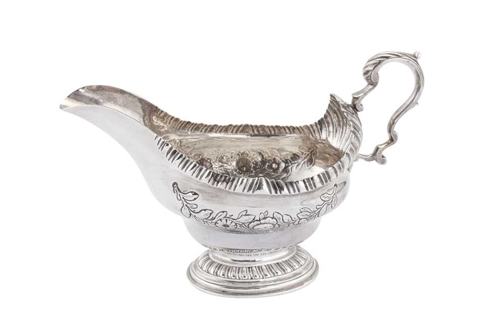 An early George III Scottish sterling silver sauceboat, Edinburgh 1762 by...