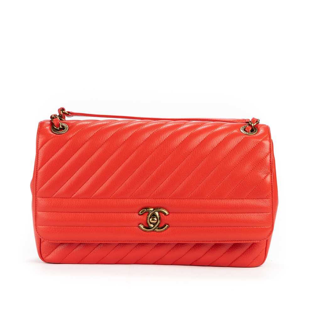 Lot 3 - Chanel Red Coco Top Chevron Single Flap Bag