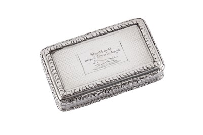 Lot 6 - A William IV sterling silver snuff box, Birmingham 1834 by John Tongue