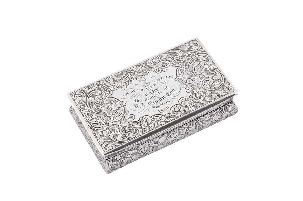 Lot 4 - A Victorian sterling silver snuff box, Birmingham 1849 by Taylor and Perry