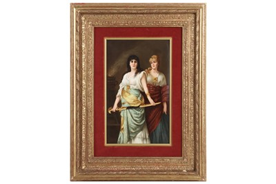 Lot 58 - A FINE AND LARGE LATE 19TH CENTURY K.P.M. PORCELAIN PLAQUE DEPICTING JUDITH