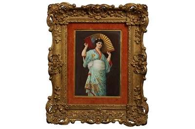 Lot 67 - A LATE 19TH CENTURY BERLIN K.P.M. PORCELAIN PLAQUE DEPICTING A GIRL WITH A FAN