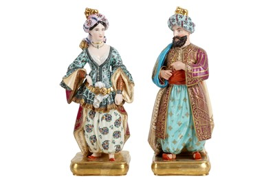 Lot 60 - A PAIR OF MID 19TH CENTURY PARIS PORCELAIN FIGURAL FLASKS OF A SULTAN AND SULTANA