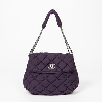 Lot 51 - Chanel Purple Chain Single Flap Bag