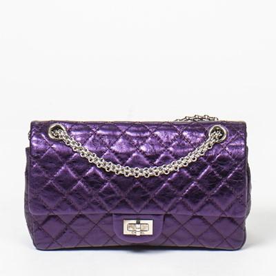 Lot 50 - Chanel Metallic Purple Reissue 2.55 Double Flap Bag